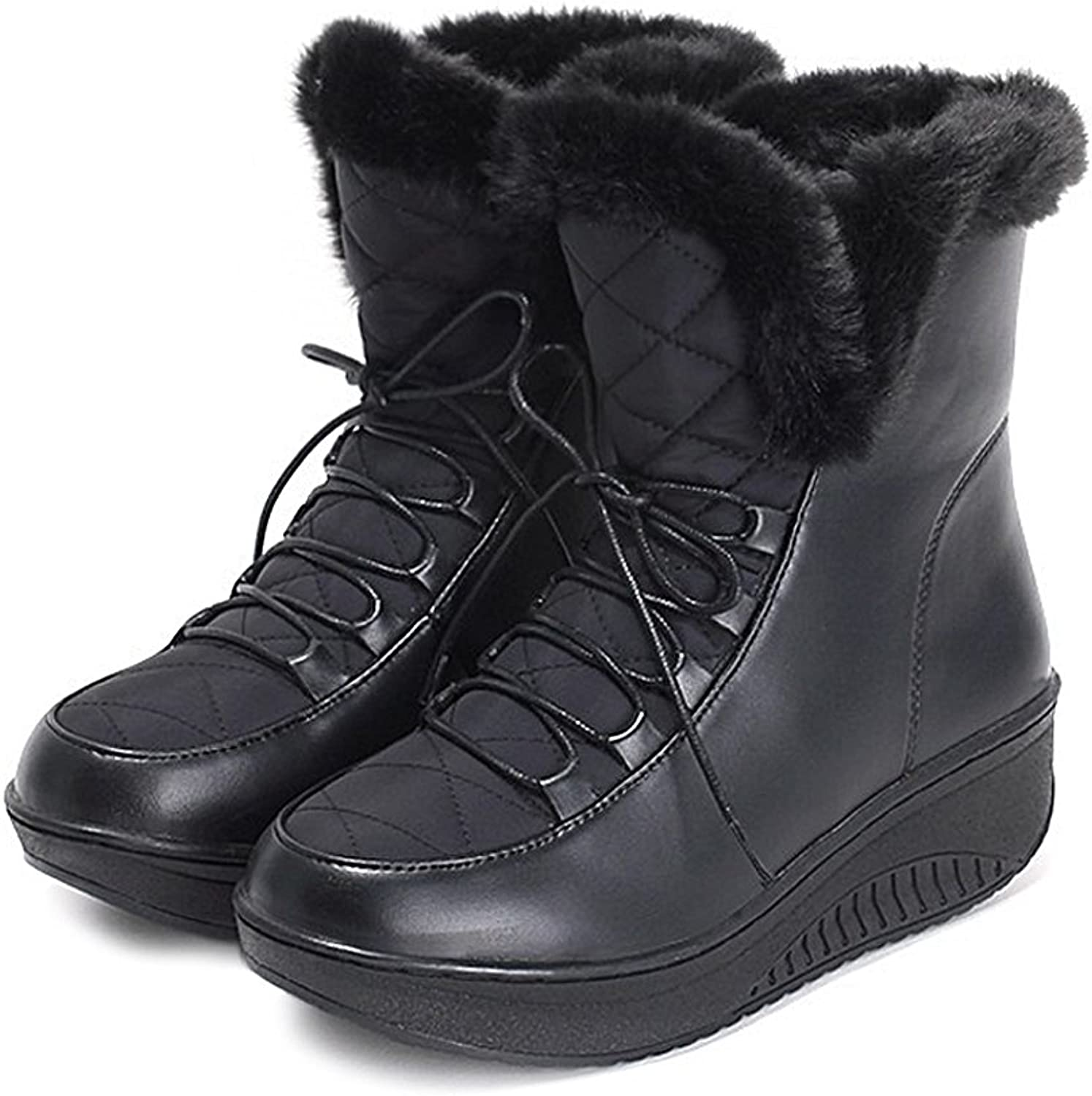 Women's Winter Fur Snow Boots Flat Round Solid Ankle Slip-on Bonded Leather Insole