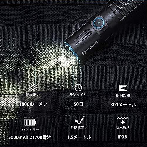 OLIGHT(オーライト)M2RProWarrior懐中電灯1800ルーメンタクティカルライトフラッシュライト戦術充電式ハンディライトセルフディフェンス21700電池5年保障