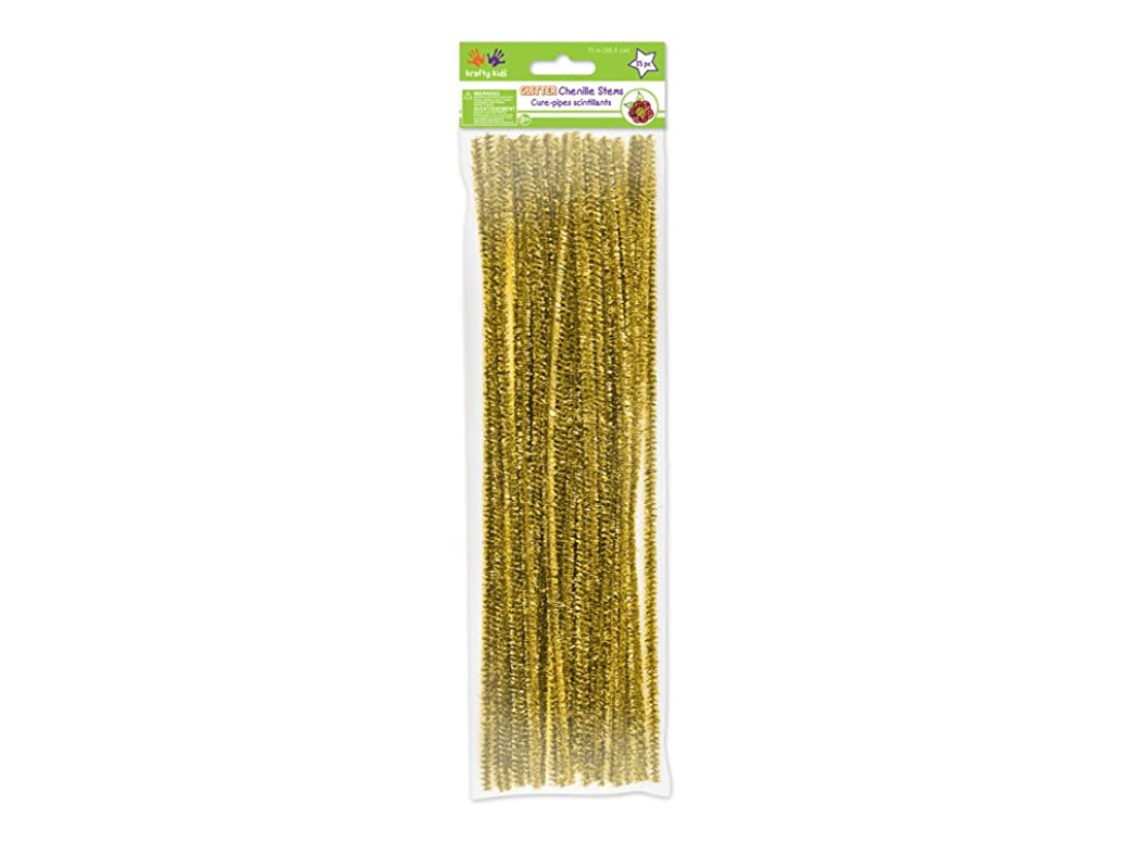 Krafty Kids GC025B Tinsel Chenille Stems, Glitter Pipe Cleaners, 6mm by 12in, Gold, 35-Piece, 12