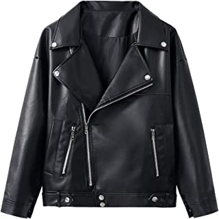 Sungtin Women's Classic Motorcycle Biker Faux Leather Jacket Loose Coat with Two Pockets
