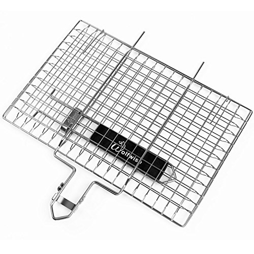 WolfWise Portable Grilling Basket BBQ Barbecue Tool Work for Fish Vegetable Steak Meat Shrimp Chops, Made of Durable 430 Stainless Steel, Medium