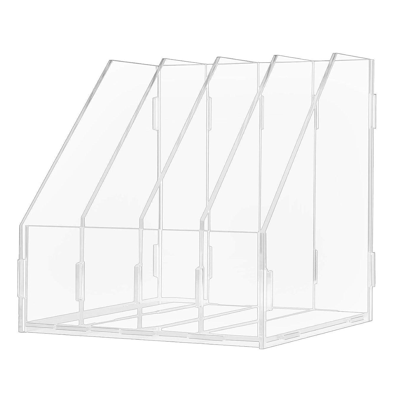 Heatleper 4 Slots Clear Acrylic A4 File Folder Rack Paper Document Magazine Holder Desk Organizer for Office School Home (4 Slots)