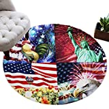 Ultra Soft Shaggy Plush Fluffy Area Rug for Living Floor Carpets Mat American Flag Rooster Statue of Liberty Bald Eagle and Balloon Modern Furry Circle Accent Runner Luxurious Shag Rug 5FT