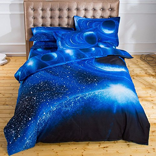 THEE Galaxy Quilt Cover Duvet Cover Outer Space Bedding Set(Twin 3pcs)