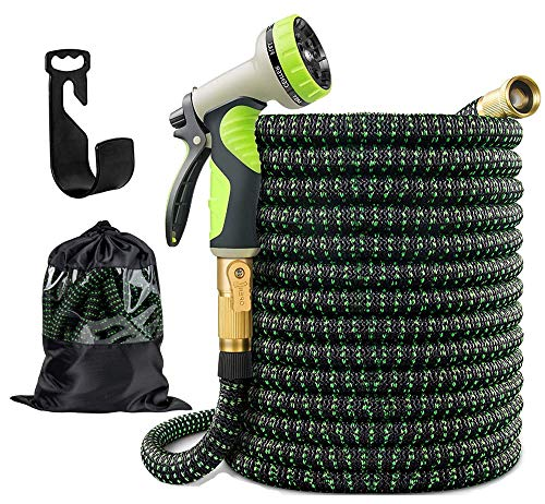 """Garden Hose Expandable Garden Hose 100ft Flexible Water Hose With 3 Layer Latex Core 3/4"""" Solid Brass Fittings 3750D Extra Strength Fabric and 10 Function Spray Premium No-Kink Flexible Water Hose"""