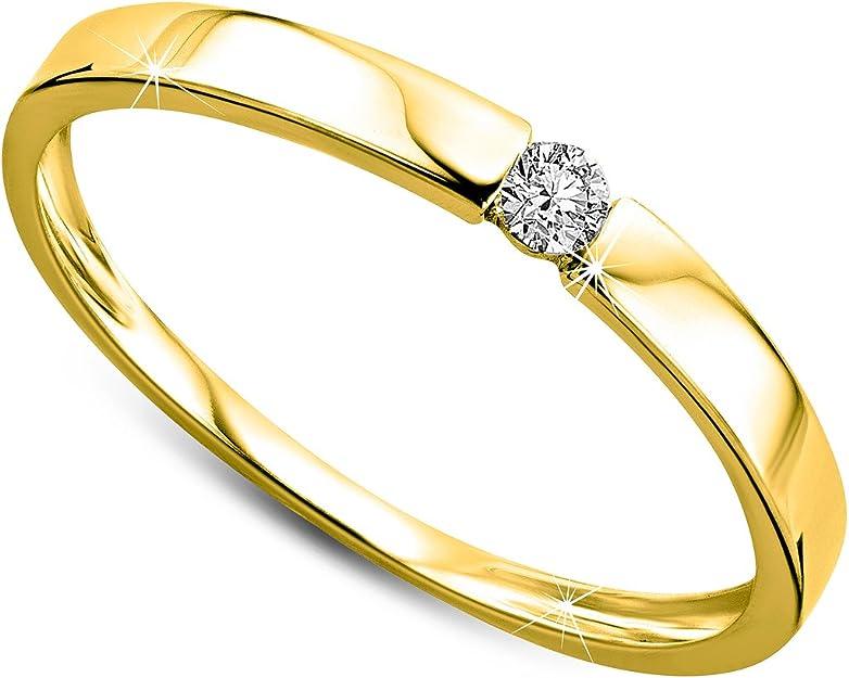 Orovi anillo de señora solitario 0.05 Ct diamantes en oro blanco/oro amarillo de 9k ley 375 Anillo Hecho a Mano en Italia
