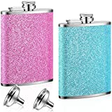 2 Pieces 8 oz Stainless Steel Colorful Glitter Hip Flask Alcohol Liquor Flask with Funnel Set, Colorful Glitter Coating for Women