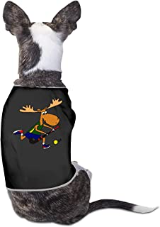 COLLJL8 Moose Playing Field Hockey Pet Clothing Costumes Puppy Dog Clothes Vest Tee T-Shirt