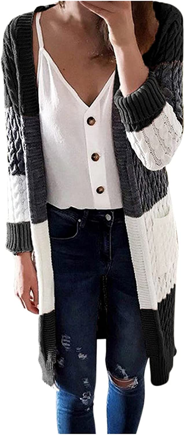 Aniwood Sweaters for Women Cardigan Open Front, Women's Long Sleeve Fall Color Lightweight Cardigan Sweater Outerwear