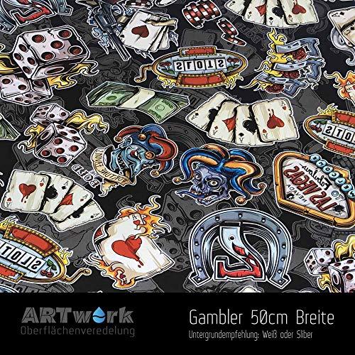 Wassertransferdruck WTD Design Folie ARTwork Gambler 50cm Breite