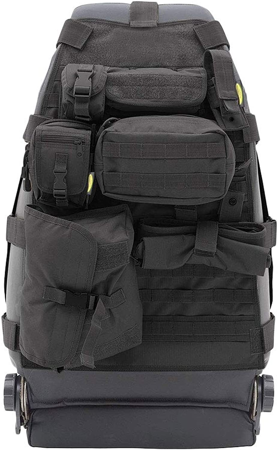 Offroad Vehicle Seatback Cover Storage Bag Dust-Proof 7 Nylon Pockets Wear-Resistant Simple Black MOLLE System Removable Design