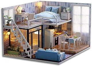 Cutebee Diy Dollhouse Miniature Kit with Furniture, Wooden Mini Miniature Dollhouse kits, Casa Miniatura Dolls House Plus Dust Proof Music Movement