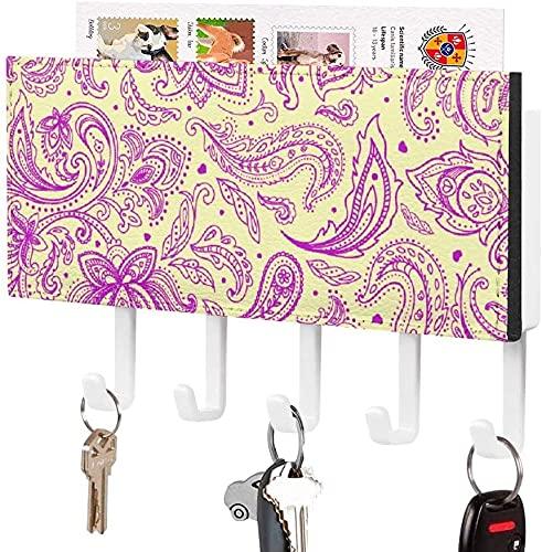 Soporte para llaves para gancho para llaves montado en la pared, rama de primavera de Sakura con flor de cerezo, soporte para correo de entrada a la pared, organizador de llaves decorativo con 5 ganc