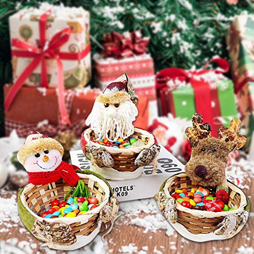 vijTIAN Christmas Candy Basket Storage Bowl Small Size Santa Claus Snowman Deer Design Candy Desert Bamboo Storage Jar Holders Ornaments Gift Decorations Home Festival Xmas Decor
