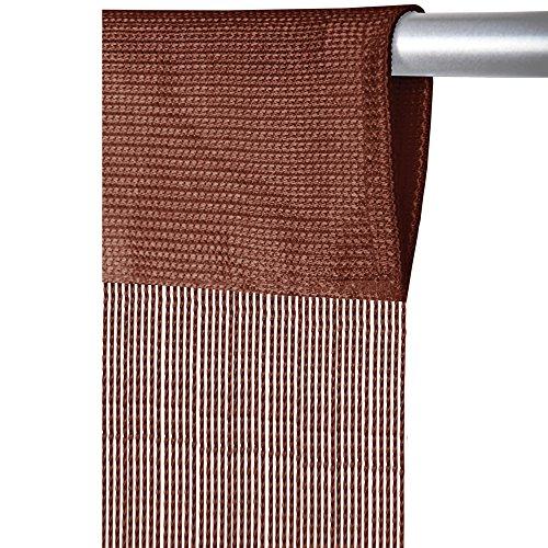 Arsvita Fadenvorhang mit Stangendurchzug, individuell kürzbare Gardine, moderner und eleganter Dekorationsartikel in vielen Farben und Ausführungen (B90xL250 cm/braun - Schokobraun)