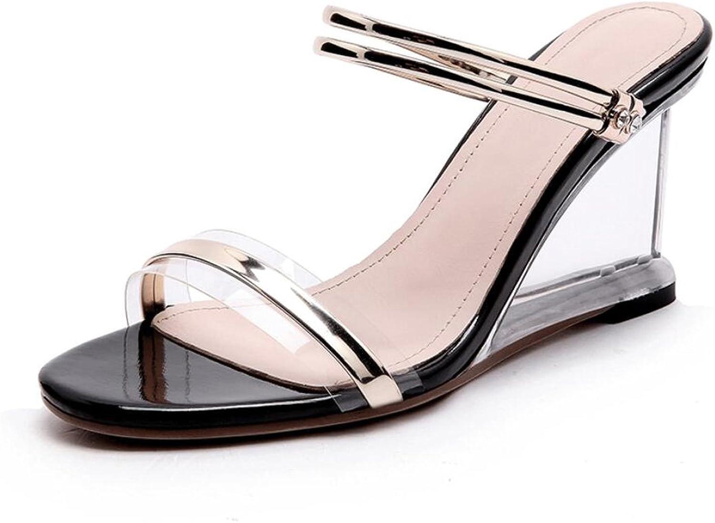 DANDANJIE Damenschuhe Keile Heels Sandalen Kristall Transparent High Heels Schuhe Damen Mdchen Sommer Flip Flops (Farbe   Schwarz, Gre   37 EU)