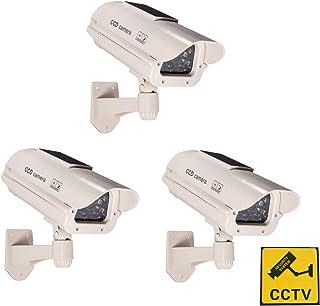 Phot-R 3x accionada solar al aire libre del CCTV imitacion falsa cubierta IR LED parpadeante luz intermitente roja de vigilancia de seguridad Mini velocidad simulada de la boveda de la camara II con Etiqueta de advertencia