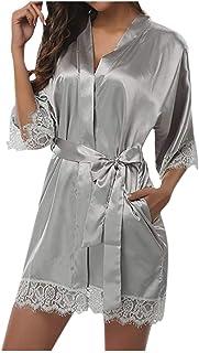 Fenverk Damen Morgenmantel Bademantel Sexy Kimono Kurz Robe Nachthemd Für Braut Nachtwäsche Blumenspitze Frauen Babydoll Dessous Kleid Gown Spitze Transparente Cover Up