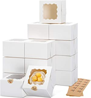 Moretoes 50pcs 4x4x2.5 Inches White Bakery Boxes with Window, Cookie Boxes, Mini Cake Boxes, Dessert, Pastry, Small Treat ...