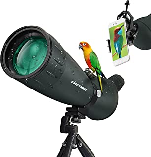 SINSTNER HD Spotting Scope,High Power Zoom Scope with Cell Phone Adapter,Tripod,Carrying Bag 45 Degree Angled Eyepiece Telescope for Target Shooting Stargazing Bird Watching Hunting (25-75X75)