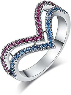 Psiroy 925 Sterling Silver Created Blue Topaz & Ruby Filled Chevron Band Ring