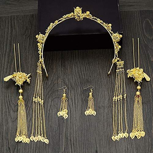 Vintage haarsieraad vrouwen Chinese klassieke bruid handgemaakte tiara haarspeld mooie en mooie gouden bladeren met franjes haar band schudden rechte stijl