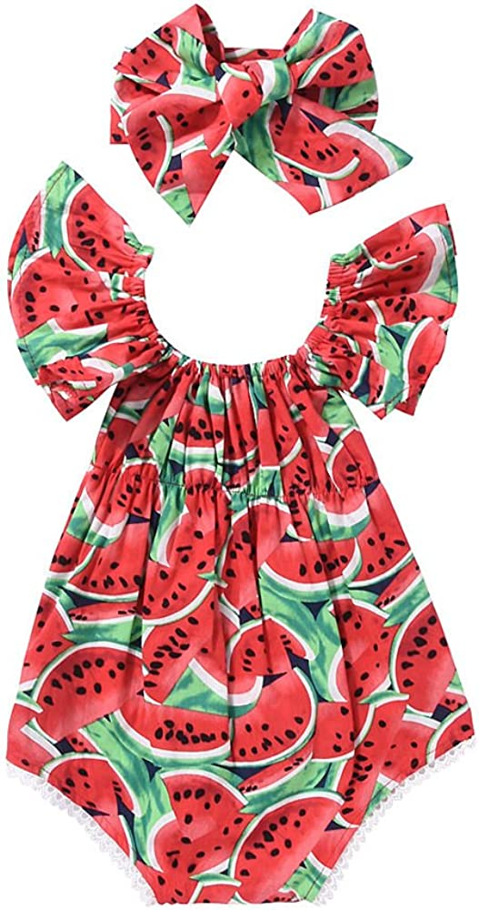 Phoebe bee Newborn Baby Girls Watermelon Fruit Bodysuit Romper Backless Jumpsuit Outfits with Headband Clothes Sunsuit Red