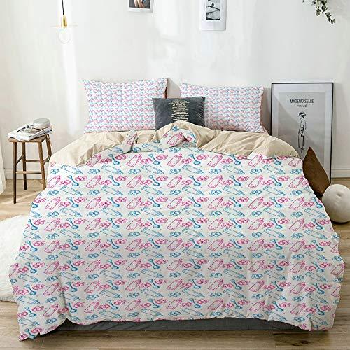 vhg8dweh Bettwäsche-Set,Baby Milchflaschen Schnuller drucken,1 Bettbezug 135x200 + 2 Kopfkissenbezug