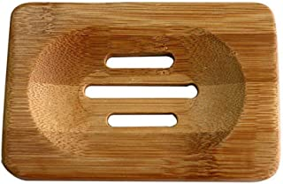 Minicartshop 2 Piece Wooden Natural Bamboo Soap Dish Wooden Soap Tray Holder Storage Soap Rack Plate Box Container for Bath Shower Plate Bathroom