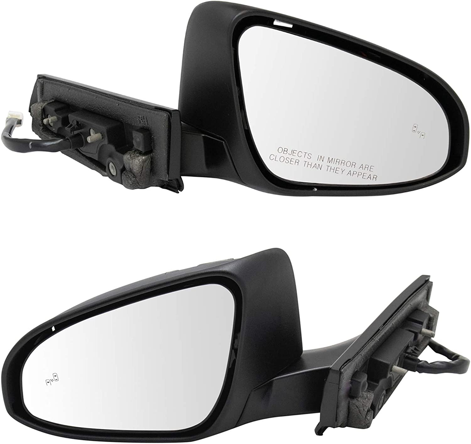 safety Side Deluxe View Mirror Pair Power Folding Blind Signal Spot Paint Turn