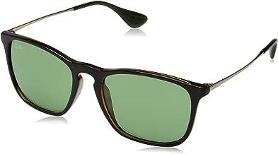 RAY-BAN RB4187 Chris Square Sunglasses, Tortoise/Green, 54 mm