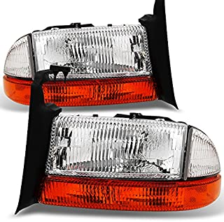 For 1997-2004 Dodge Dakota   1998-2003 Durango Replacement Textured Len Headlights + Amber Corner Turn Signal Lamp