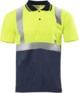 JORESTECH Safety Polo Shirt Reflective High Visibility Short Sleeve Yellow/Lime Dark Blue Bottom ANSI Class 2 Level 2 Type R PS-01 (S)