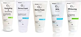 O3+ Facial Kit Combo Pack Hydrating & Soothing Facewash, Derma Fresh Cream, Derma Fresh Mask, Milk Scrub, Whitening Face Emulsion (250gm)
