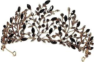 Tiaras y coronas vintage para mujer, con hoja de cristal, tiara de metal gótico Queen Crown, fiesta de cumpleaños, Quincea...