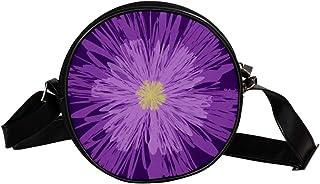 Coosun Umhängetasche für Kinder und Damen, mit violetten Blumen und Blumen, rund, Umhängetasche, Handtasche