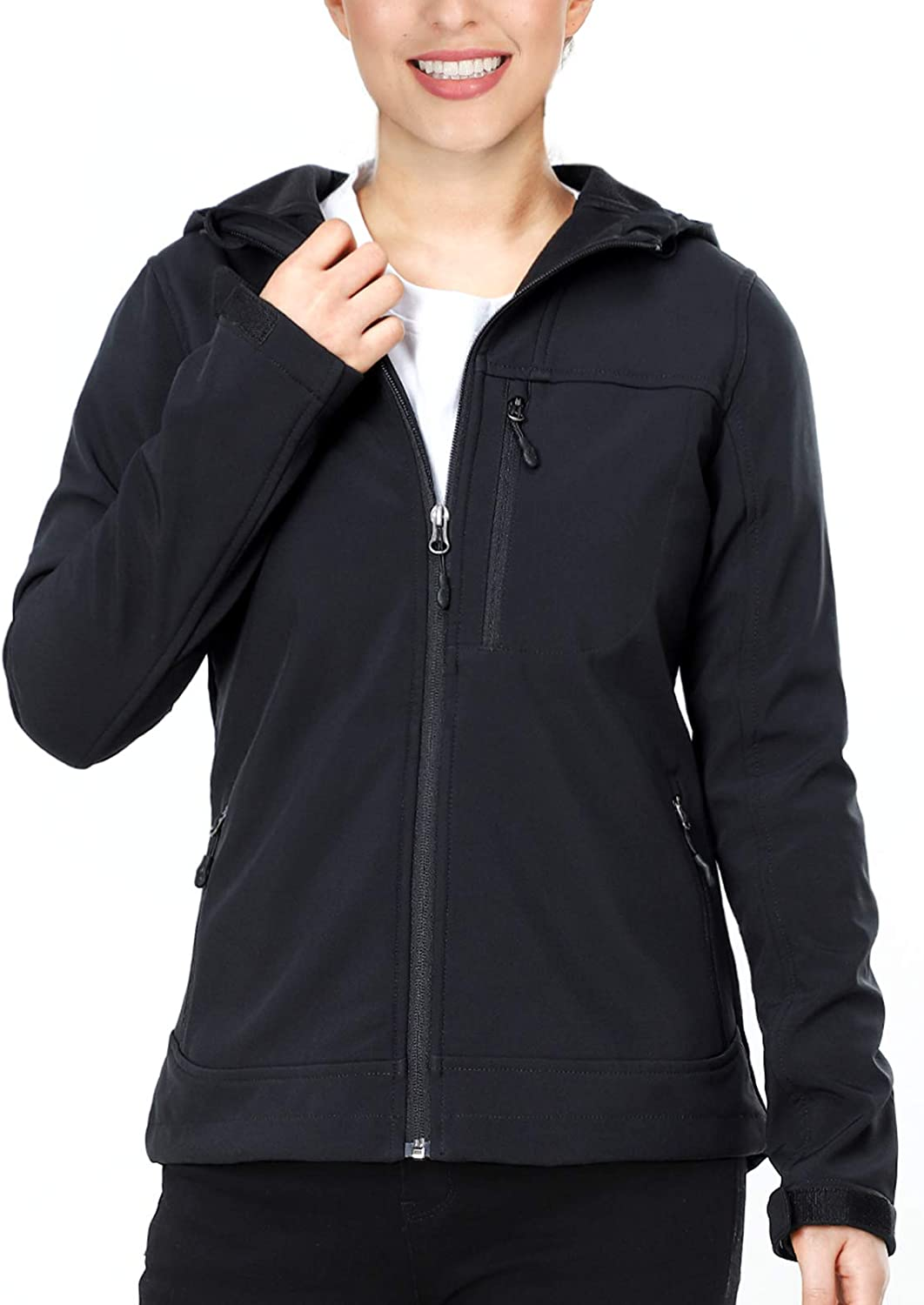 MIER Women's Hooded Softshell Jacket Tactical Jacket with Fleece Lined for Hiking Travel Work Casual, Water Resistant, Black: Clothing