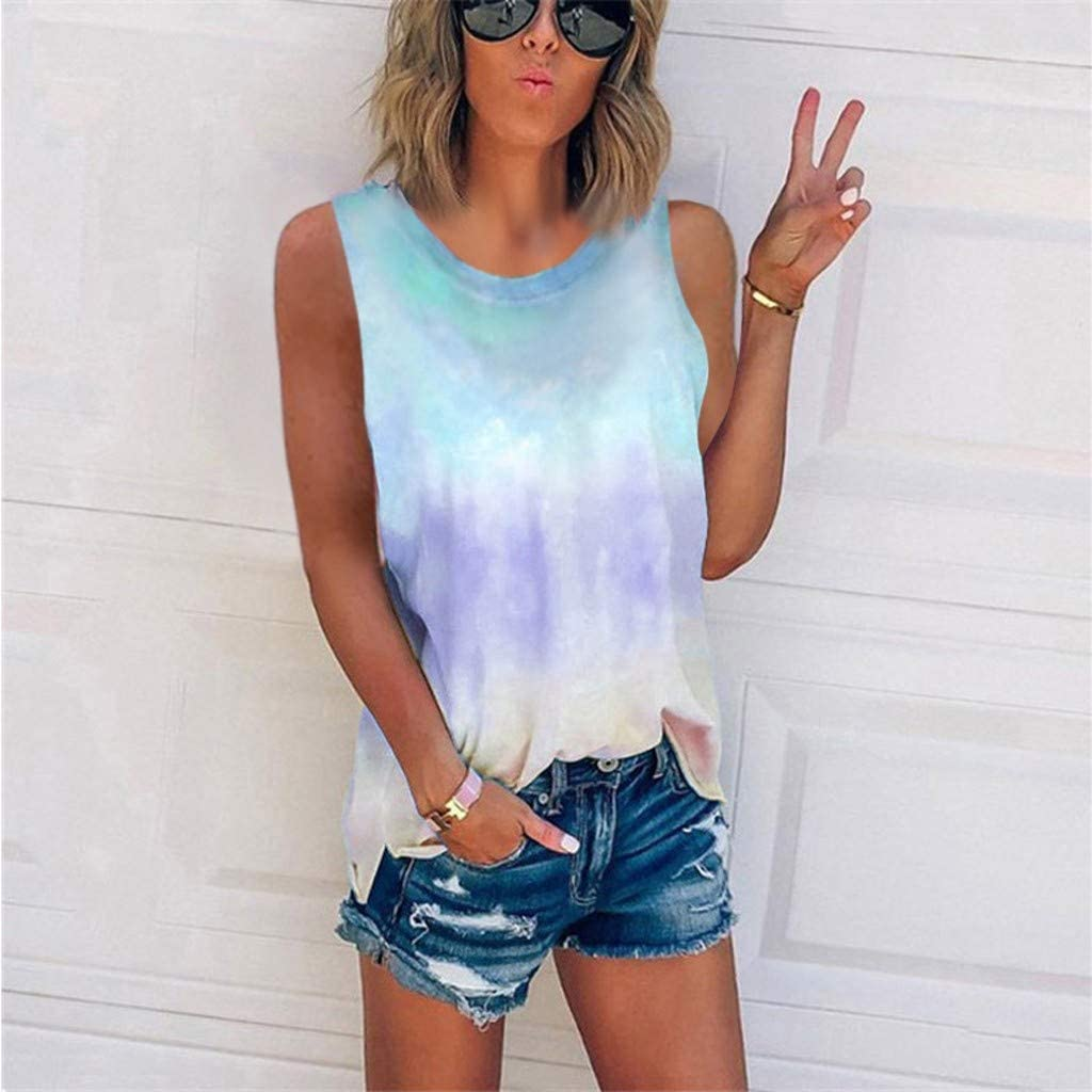 Womens Tank Tops, naioewe Women Round Neck Gradient Printed Sleeveless Summer Loose Fit Vest Tunic Camisoles Shirts