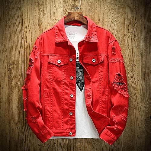HUITAILANG Jeansjacke Männer, Slim Fit Cotton Ripped Jeansjacke In Übergröße, Modemantel, Rot, Mittel