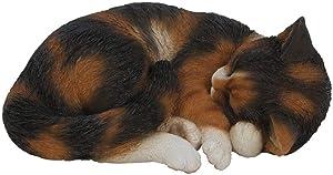 Vivid Arts Weather Resistant Indoor/Outdoor Detailed Tortoiseshell Sleeping Cat Ornament