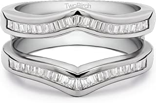 TwoBirch 0.44 Ct. Baguette Chevron Ring Guard Enhancer in Sterling Silver with Cubic Zirconia