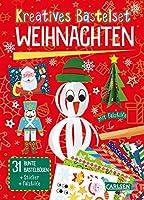Kreatives Bastelset: Weihnachten: Set mit 33 bunten Papierboegen, Vorlagen zum Heraustrennen, Stickern und Falzhilfe