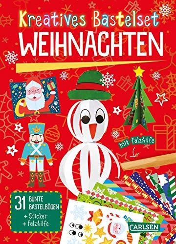 Kreatives Bastelset: Weihnachten: Set mit 33 bunten Papierbögen, Vorlagen zum Heraustrennen, Stickern und Falzhilfe
