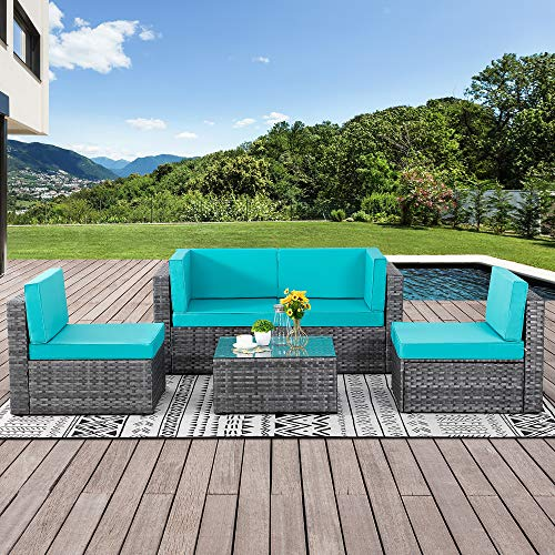 Walsunny Outdoor Silver Grey Rattan Sectional Sofa- Patio Wicker Furniture Set Conversation Sets with Tea Table&Washable Couch Cushions (Light Blue)
