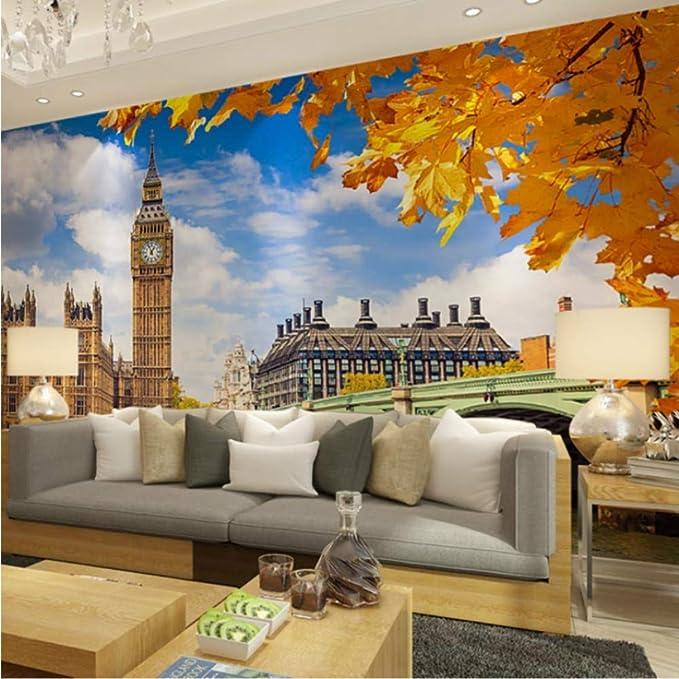 Door Mural Big Ben London View Effect Decal Mural Home Decor Window Sticker Wallpaper Home Living Vinyl Art Bedroom Lounge Kitchen Nursery 2