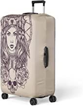Pinbeam Luggage Cover Red Tattoo Native American Girl Wolf Headdress Lineart Travel Suitcase Cover Protector Baggage Case Fits 22-24 inches