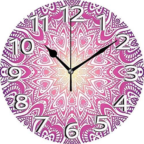 AZHOULIULIU Co.,ltd Wanduhr Mandala Meditational Round Lace Inspired Element Herzformen Und Blended Color Bohemian Multicolor Silent Clock