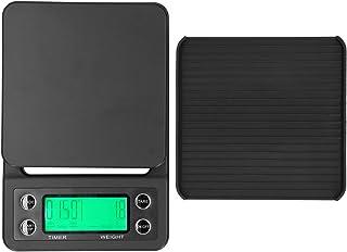 Báscula de café con temporizador, báscula de cocina digital electrónica portátil de 3 kg / 0,1 g con temporizador, báscula para verter sobre café, color negro