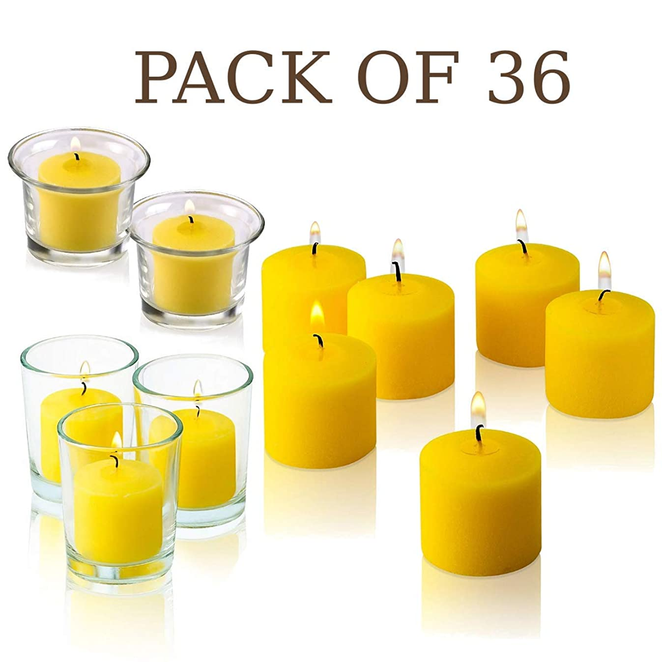 Votive Citronella Candle - Pack of 36 - Made from High Scented Citronella to Scare Away Mosquito, Bug and Flies – for Outdoor/Indoor Use - 10 Hour Burn Time - Made in USA