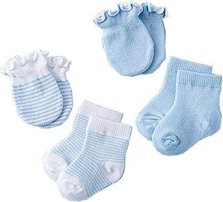 Xiuinserty, Xiuinserty Guantes de bebé recién nacido para arañazos para niños, manoplas de bebé, antiarañazos, calcetines para recién nacido, guantes de ducha, para regalo, 4 pares